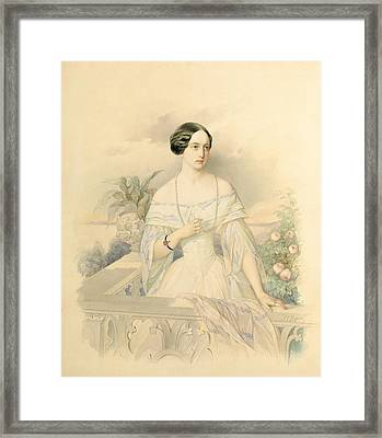 Portrait Of Grand Duchess Olga Nikolaevna Framed Print by Vladimir Ivanovich Hau