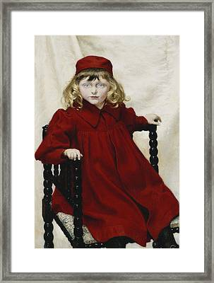 Portrait Of Harriet Fischer, Small Three-quarter Length, Wearing A Red Dress, 1896 Oil On Canvas Framed Print by Paul Fischer