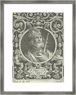 Portrait Of Hector Of Troy In Medallion Inside Rectangular Framed Print by Nicolaes De Bruyn And Anonymous
