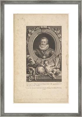 Portrait Of Henri Iv Framed Print by Augustin de Saint-Aubin