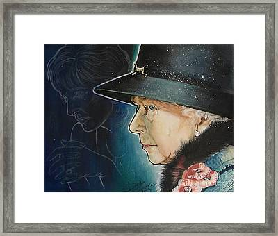 Portrait Of Her Majesty Elizabeth The Second Framed Print