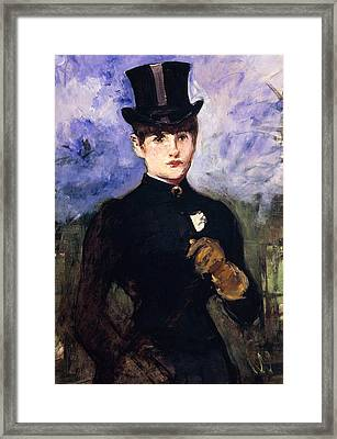 Portrait Of Horsewoman Framed Print by Edouard Manet