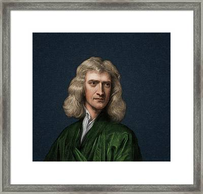 Portrait Of Isaac Newton Framed Print by David Parker
