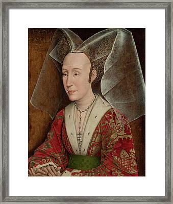 Portrait Of Isabella Of Portugal Workshop Of Rogier Van Der Framed Print by Litz Collection