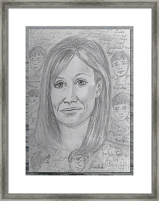 Portrait Of J K Rowling Design Framed Print by Joan-Violet Stretch