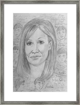 Portrait Of J K Rowling Framed Print by Joan-Violet Stretch