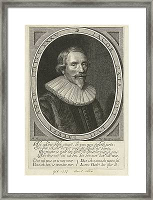 Portrait Of Jacob Cats At The Age Of 57 Framed Print by Willem Jacobsz. Delff