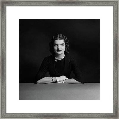 Portrait Of Jacqueline Bouvier Framed Print by Richard Rutledge