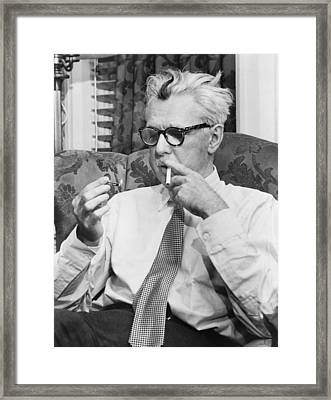 Portrait Of James Thurber Framed Print by Fred Palumbo