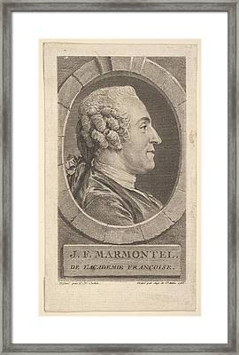 Portrait Of Jean-francoise Marmontel Framed Print by Augustin de Saint-Aubin
