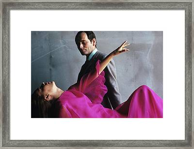 Portrait Of Jeanne Moreau And Pierre Cardin Framed Print by Bert Stern