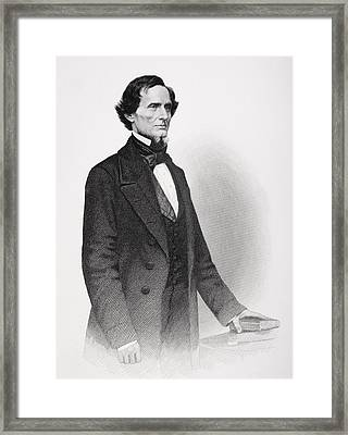 Portrait Of Jefferson Davis Framed Print by Mathew Bardy