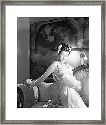 Portrait Of Joan Bennett In Costume Framed Print by Horst P. Horst