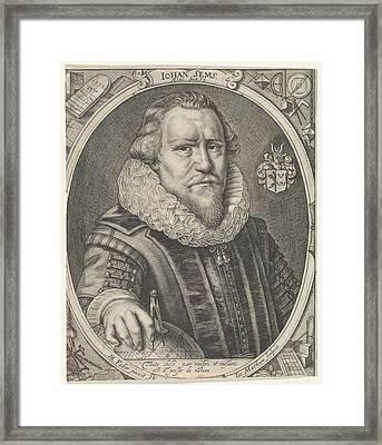 Portrait Of Johan Sems, Jacob Matham Framed Print by Jacob Matham
