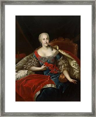 Portrait Of Johanna-elizabeth, Electress Of Anhalt-zerbst, C.1746 Oil On Canvas Framed Print by Antoine Pesne