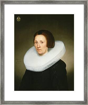 Portrait Of Johanna Van Diemen, Aged 61, 1647 Oil On Panel Framed Print by Jacob Gerritsz Cuyp