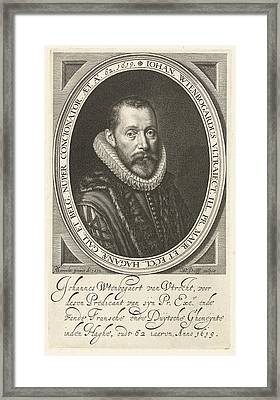 Portrait Of Johannes Wtenbogaert At The Age Of 62 Framed Print by Willem Jacobsz. Delff