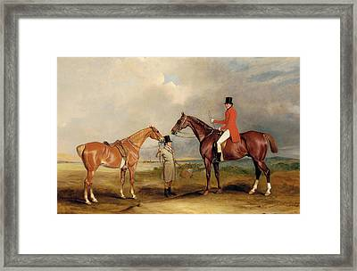 Portrait Of John Drummond On A Hunter With A Groom Holding His Second Horse Framed Print by John E Ferneley