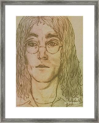 Portrait Of John Lennon Framed Print by Joan-Violet Stretch