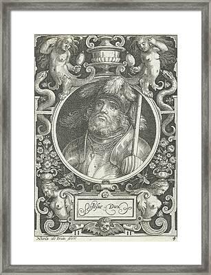 Portrait Of Joshua Medallion Inside Rectangular Frame Framed Print by Nicolaes De Bruyn