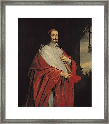 Portrait Of Jules Mazarin Framed Print by Philippe de Champaigne