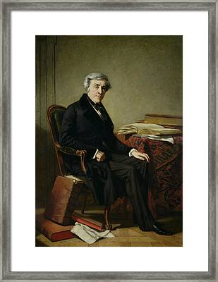 Portrait Of Jules Michelet 1798-1874 Oil On Canvas Framed Print by Thomas Couture