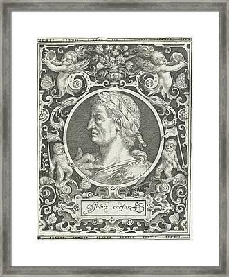 Portrait Of Julius Caesar In Medallion Inside Rectangular Framed Print by Nicolaes De Bruyn