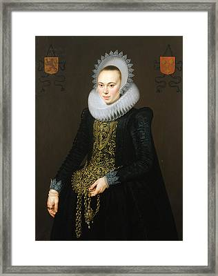 Portrait Of Justina Van Teylingen, 1616 Oil On Panel See 307901 For Pair Framed Print by Cornelis van der Voort