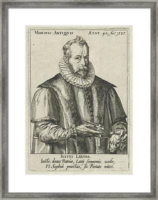 Portrait Of Justus Lipsius, Anonymous, Hendrick Goltzius Framed Print