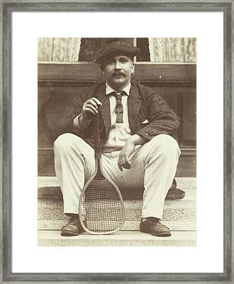 Portrait Of Jw Des Tombe With Tennis Racket Framed Print