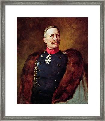 Portrait Of Kaiser Wilhelm II 1859-1941 Framed Print by Bruno Heinrich Strassberger