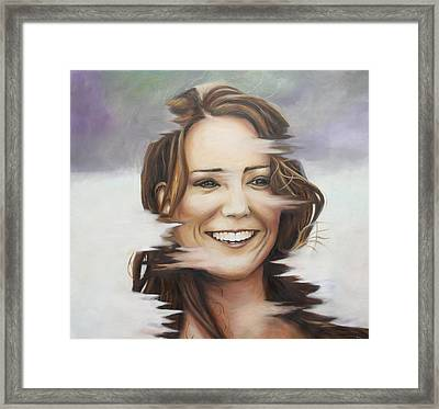 Portrait Of Kate Middleton Framed Print by Ah Shui