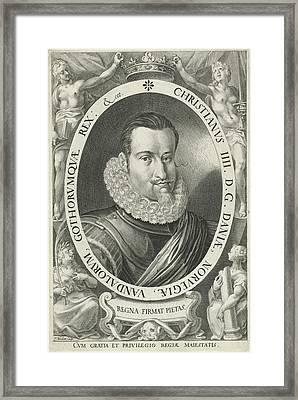Portrait Of King Christian Iv Of Denmark And Norway Framed Print by Jan Harmensz. Muller