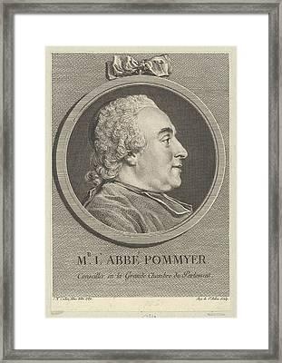 Portrait Of Labb� Pommyer Framed Print by Augustin de Saint-Aubin