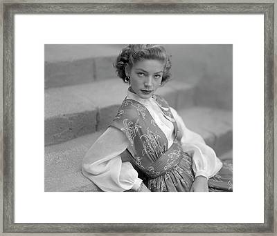 Portrait Of Lauren Bacall Framed Print by Clifford Coffin