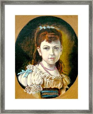 Framed Print featuring the painting Portrait Of Little Girl by Henryk Gorecki