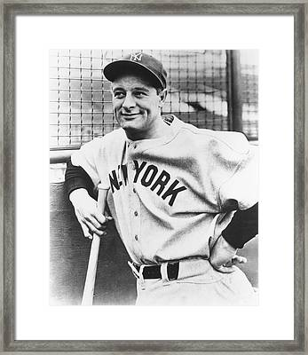 Portrait Of Lou Gehrig Framed Print by Underwood Archives