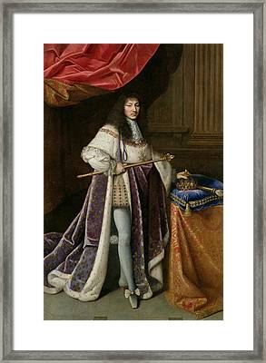 Portrait Of Louis Xiv 1638-1715 Oil On Canvas Framed Print by French School