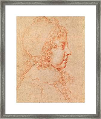 Portrait Of Louis Xiv As A Child Red Chalk On Paper Framed Print by Philippe de Champaigne