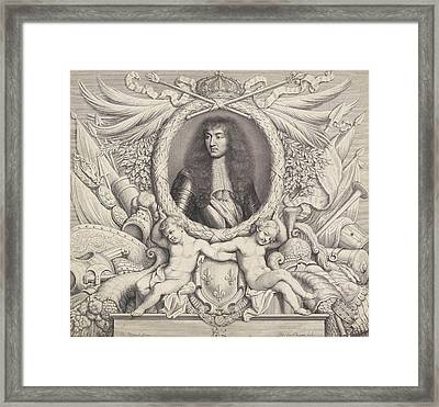 Portrait Of Louis Xiv, King Of France, Pieter Van Schuppen Framed Print by Pieter Van Schuppen