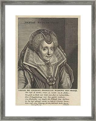 Portrait Of Louise De Coligny Framed Print by Jan De Visscher And Michiel Jansz Van Mierevelt And Geeraert Brandt (i)
