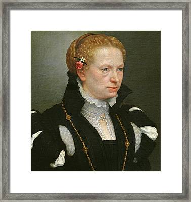 Portrait Of Lucia Vertova Agosti Framed Print by Giovanni Battista Moroni