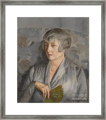 Portrait Of Madame Barthelemy With A Green Fan Framed Print
