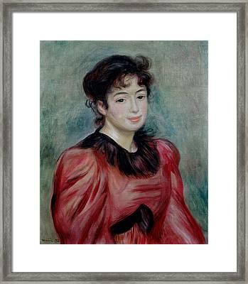 Portrait Of Mademoiselle Victorine De Bellio 1863-1957 1892 Oil On Canvas Framed Print by Pierre Auguste Renoir