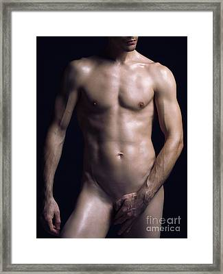 Portrait Of Man With Fit Naked Body Framed Print