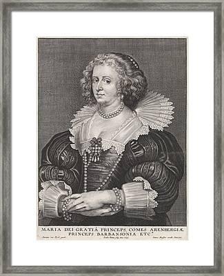 Portrait Of Maria De Barbançon, Princess Of Arenberg Framed Print