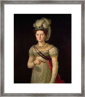 Portrait Of Maria Josephine Amalia Of Saxony Framed Print by Francisco Lacoma