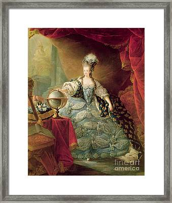 Portrait Of Marie Antoinette Queen Of France Framed Print by Jean-Baptise Andre Gautier DAgoty