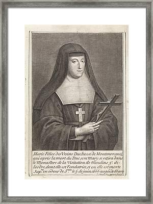 Portrait Of Marie-flice Orsini, Duchess Of Montmorency Framed Print by Duchess Of Montmorency And Pieter Van Schuppen