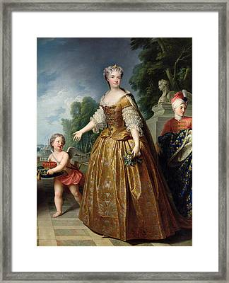 Portrait Of Marie Leczinska 1703-68 After 1725 Oil On Canvas Framed Print by Francois Stiemart